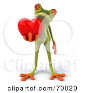 3d Green Tree Frog Presenting A Heart Pose 2 by Julos