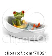 Royalty Free RF Clipart Illustration Of A 3d Green Tree Frog Taking A Bath Pose 3