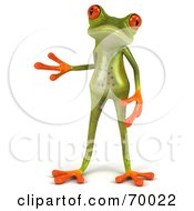 3d Green Tree Frog With One Hand At His Side by Julos