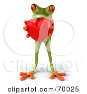 3d Green Tree Frog Presenting A Heart Pose 1 by Julos
