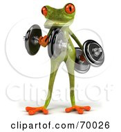 3d Green Tree Frog Lifting Weights Pose 3 by Julos