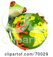 Royalty Free RF Clipart Illustration Of A 3d Green Poison Dart Frog Hugging The Earth