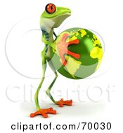 3d Green Poison Dart Frog Holding The Earth - Pose 2