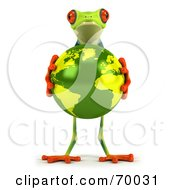 3d Green Poison Dart Frog Holding The Earth - Pose 1