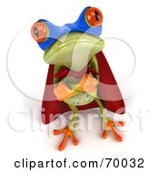Royalty Free RF Clipart Illustration Of A 3d Green Tree Frog Super Hero Pose 5