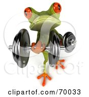Royalty Free RF Clipart Illustration Of A 3d Green Tree Frog Lifting Weights Pose 6
