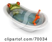 Royalty Free RF Clipart Illustration Of A 3d Green Tree Frog Taking A Bath Pose 1