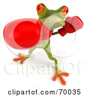 Royalty Free RF Clipart Illustration Of A 3d Green Tree Frog Boxing Version 1