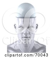 Royalty Free RF Clipart Illustration Of A 3d White Male Head Character With A Golf Ball by Julos