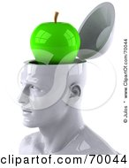 Royalty Free RF Clipart Illustration Of A 3d White Male Head Character With A Green Granny Smith Apple by Julos