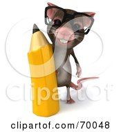 3d Mouse Character Holding A Pencil Pose 1 by Julos