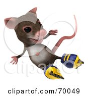 3d Mouse Character Roller Blading Pose 6 by Julos