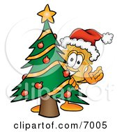 Clipart Picture Of A Badge Mascot Cartoon Character Waving And Standing By A Decorated Christmas Tree by Toons4Biz
