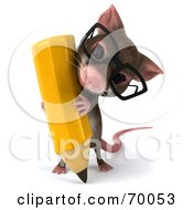 3d Mouse Character Holding A Pencil Pose 2 by Julos