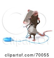 Royalty Free RF Clipart Illustration Of A 3d Mouse Character Holding A Blue Computer Mouse