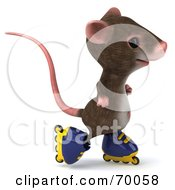 3d Mouse Character Roller Blading Pose 5 by Julos