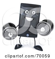 Royalty Free RF Clipart Illustration Of A 3d Computer Tower Character Weight Lifting