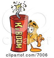 Clipart Picture Of A Badge Mascot Cartoon Character Standing With A Lit Stick Of Dynamite by Toons4Biz