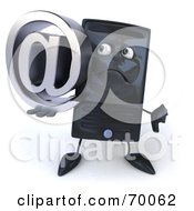 Royalty Free RF Clipart Illustration Of A 3d Computer Tower Character Holding An Arobase