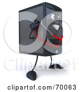 Royalty Free RF Clipart Illustration Of A 3d Computer Tower Character With A Stethoscope