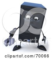 Royalty Free RF Clipart Illustration Of A 3d Computer Tower Character Holding A Tool Pose 1