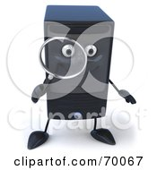 Royalty Free RF Clipart Illustration Of A 3d Computer Tower Character With A Magnifying Glass