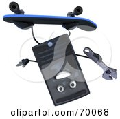 Royalty Free RF Clipart Illustration Of A 3d Computer Tower Character Skateboarding