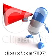 3d Blue Pill Character Using A Megaphone by Julos