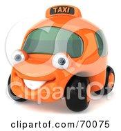 3d Orange Taxi Cab Car Smiling