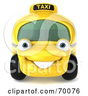 Royalty Free RF Clipart Illustration Of A 3d Yellow Taxi Cab Car Smiling