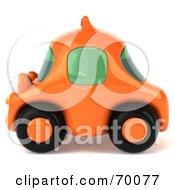 3d Orange Taxi Cab Car In Profile