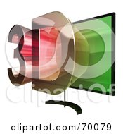 Royalty Free RF Clipart Illustration Of A Flat Screen Plasma Television With 3d Emerging From The Screen Version 4 by Julos