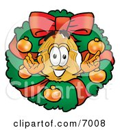 Clipart Picture Of A Badge Mascot Cartoon Character In The Center Of A Christmas Wreath by Toons4Biz