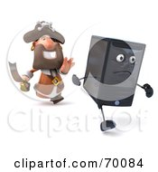 Royalty Free RF Clipart Illustration Of A 3d Pirate Character Chasing A Computer