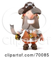 Royalty Free RF Clipart Illustration Of A 3d Pirate Character Holding A Sword Pose 1 by Julos