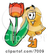 Badge Mascot Cartoon Character With A Red Tulip Flower In The Spring