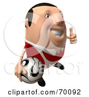 3d Chubby Soccer Steve Carrying A Ball And Giving The Thumbs Up - Pose 2