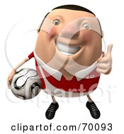 Royalty Free RF Clipart Illustration Of A 3d Chubby Soccer Steve Carrying A Ball And Giving The Thumbs Up Pose 1 by Julos