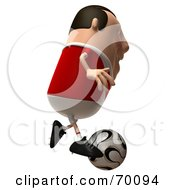 Royalty Free RF Clipart Illustration Of A 3d Chubby Soccer Steve Running And Kicking A Ball by Julos