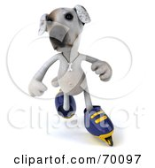 Royalty Free RF Clipart Illustration Of A 3d Jack Russell Terrier Pooch Character Roller Blading Pose 3