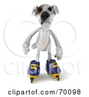 Royalty Free RF Clipart Illustration Of A 3d Jack Russell Terrier Pooch Character Roller Blading Pose 2