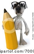 Royalty Free RF Clipart Illustration Of A 3d Jack Russell Terrier Pooch Character With A Pencil Pose 1