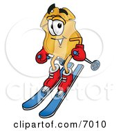 Clipart Picture Of A Badge Mascot Cartoon Character Skiing Downhill by Toons4Biz