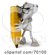 3d Jack Russell Terrier Pooch Character With A Pencil Pose 2 by Julos