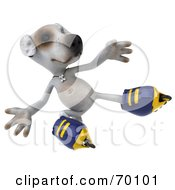Royalty Free RF Clipart Illustration Of A 3d Jack Russell Terrier Pooch Character Roller Blading Pose 6