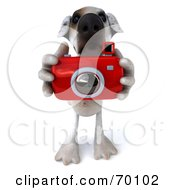 Royalty Free RF Clipart Illustration Of A 3d Jack Russell Terrier Pooch Character Taking Pictures