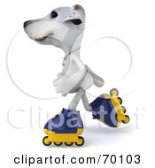 Royalty Free RF Clipart Illustration Of A 3d Jack Russell Terrier Pooch Character Roller Blading Pose 4