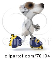 Royalty Free RF Clipart Illustration Of A 3d Jack Russell Terrier Pooch Character Roller Blading Pose 5