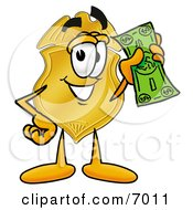Clipart Picture Of A Badge Mascot Cartoon Character Holding A Dollar Bill by Toons4Biz
