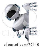 3d Techno Robot Character Looking Around A Sign by Julos